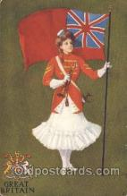 stg004002 - Great Britain National Girl Artist St. John, Country Girl, Postcard Postcards