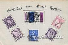 stp001180 - Real Stamps on front Britain Postcard Post Card