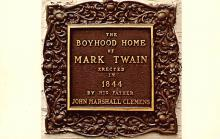 sub001467 - Bronze plaque on Mark Twain's Boyhood Home in Hannibal, MO, USA