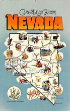 sub014007 - Map Greetings from Nevada, USA Postcard