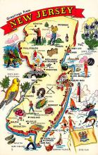 sub014013 - Map             Greetings from New Jersey, USA Postcard