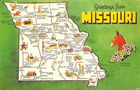 sub014015 - Map                 Greetings from Missouri, USA Postcard