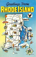 sub014017 - Map Greetings from Rhode Island, USA Postcard