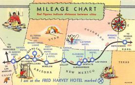 sub014035 - Mileage Chart, Fred Harvey Hotel USA Postcard