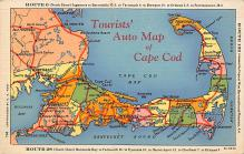 sub014121 - Auto Map of Cape Cod, MA USA Postcard