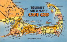 sub014123 - Tourists' Auto Map of Cape Cod, Mass USA Postcard