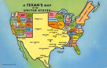 sub014125 - A Texan's Map of the United States USA Postcard