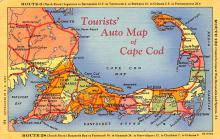 sub014127 - Tourists' Auto Map of Cape Cod, Mass USA Postcard