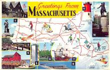 sub014141 - Greetings from Massachusetts USA Postcard