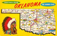 sub014193 - Greetings from Oklahoma, The Sooner State USA Postcard