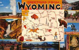 sub014213 - Greetings from Wyoming USA Postcard