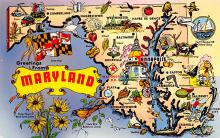 sub014247 - Greetings from Maryland USA Postcard
