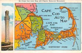 sub014251 - Cape Cod Auto Map USA Postcard