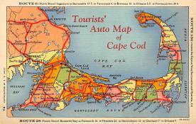 sub014301 - Tourists' Auto Map of Cape Cod USA Postcard