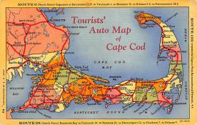sub014319 - Tourists' Auto Map of Cape Cod  Postcard