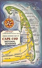 sub014355 - General Boundary Map of Cape Cod National Sea Shore, Mass  Postcard