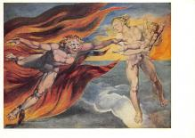 sub015267 - The Good and Evil angels struggling for Possession of a Child William Blake Postcard