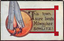 sub015593 - This town sure beats Milwaukee for Schlitz.  Postcard