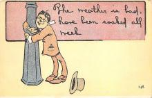 sub015665 - Drunk hanging on a street light.  Postcard
