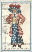 suf002114 - Uncle Sam Suffragette Postcard, Womans Rights Post Card Old Vintage Antique