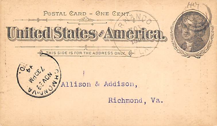 sub054269 - Postal Cards, Late 1800's Post Card