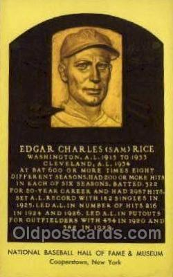 spo003882 - Edgar Charles Sam Rice Baseball Hall of Fame Card, Old Vintage Antique Postcard Post Card