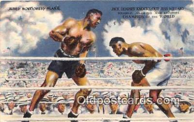 Dempsey Knocks out Jess Willard Boxing Postcard Post Card