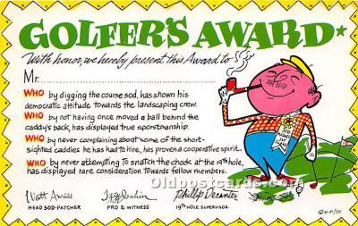 spo013795 - Old Vintage Golf Postcard Post Card