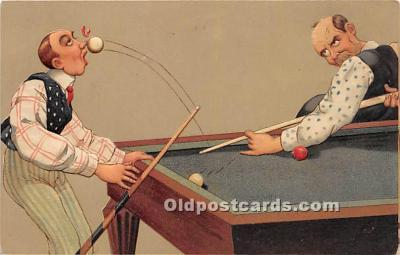 spo018236 - Old Vintage Pool / Billards Postcard Post Card