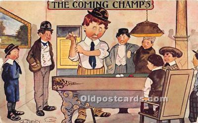 spo018270 - Old Vintage Pool / Billards Postcard Post Card