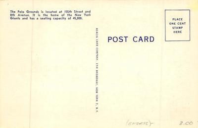 spo023A191 - Polo Grounds, New York City, USA Home of the New York Giants, Base Ball Baseball Stadium  Post Card  back