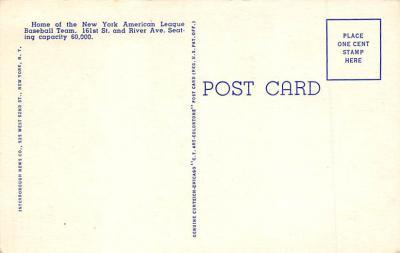 spo023A287 - Yankee Stadium NYC, New York Base Ball Stadium  Post Card Postcard  back