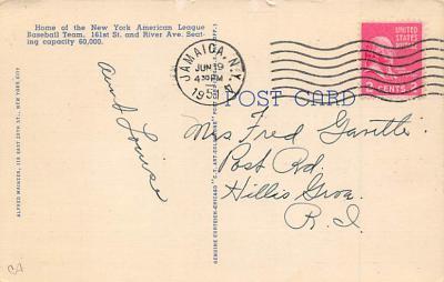 spo023A319 - Moodus, CONN, USA Baseball Stadium Postcard, Post Card  back