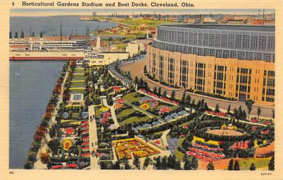 spo023A371 - Horticultural stadium and boat docks Cleveland Ohio USA Baseball Base Ball, Stadium  Postcard Post Card