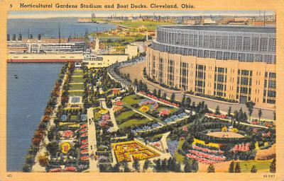 spo023A379 - Horticultural stadium and boat docks Cleveland Ohio USA Baseball Base Ball, Stadium  Postcard Post Card