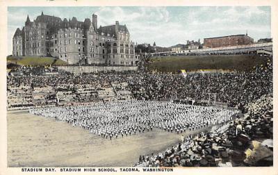 spo023A381 - Stadium High School Tacoma Washington USA Baseball Base Ball, Stadium  Postcard Post Card