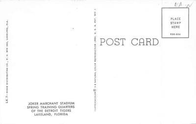 spo023A401 - Joker Marchant Stadium, Spring Training of the Detroit Tigers Baseball Stadium Postcard Post Card  back