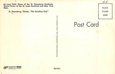 spo023A405 - Al Lang Field, St Petersburg Cardinals Baseball Stadium Postcard Post Card  back