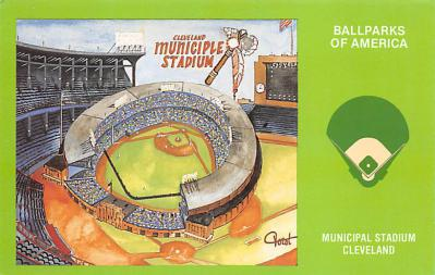 spo023A431 - Municipal Stadium Cleveland Baseball Stadium Postcard Post Card