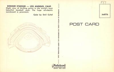 spo023A459 - Dodger Stadium Baseball Stadium Postcard Post Card  back