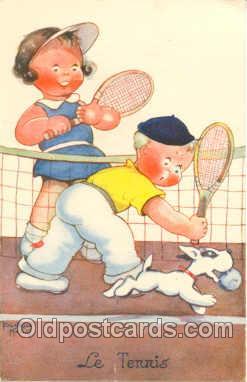 spo024011 - Artist Beatice Mallet, Tennis Postcard Postcards