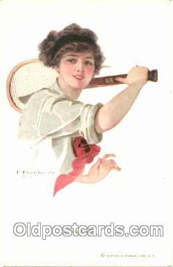 spo024026 - Artist Earl Christy, Tennis Postcard Postcards