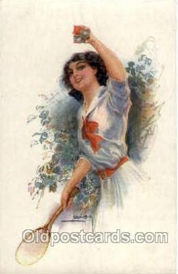 spo024574 - Artist Usable, Tennis, Old Vintage Antique, Post Card Postcard