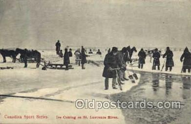 spo025098 - Ice Cutting on St. Lawence River, Canada, Winter Sports Postcard Postcards