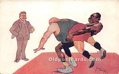 spo026113 - Old Vintage Wrestling Postcard Post Card