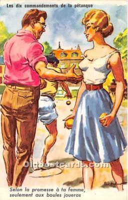 spo032296 - Old Vintage Lawn Bowling Postcard Post Card