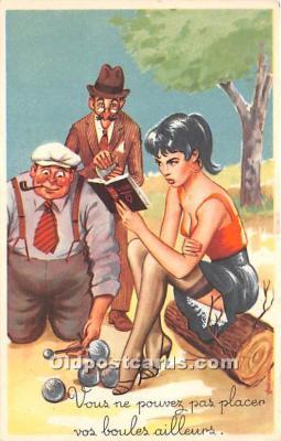 spo032310 - Old Vintage Lawn Bowling Postcard Post Card