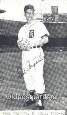 spo070202 - Paul Foytack Baseball Non Postcard Detroit Tigers Base Ball Postcard Post Card