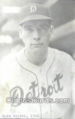 spo070239 - Rufe Gentry Base Ball Postcard Detroit Tigers Baseball Postcard Post Card