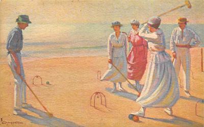 spoA008043 - Artist L. Tanquerey Croquet Postcard